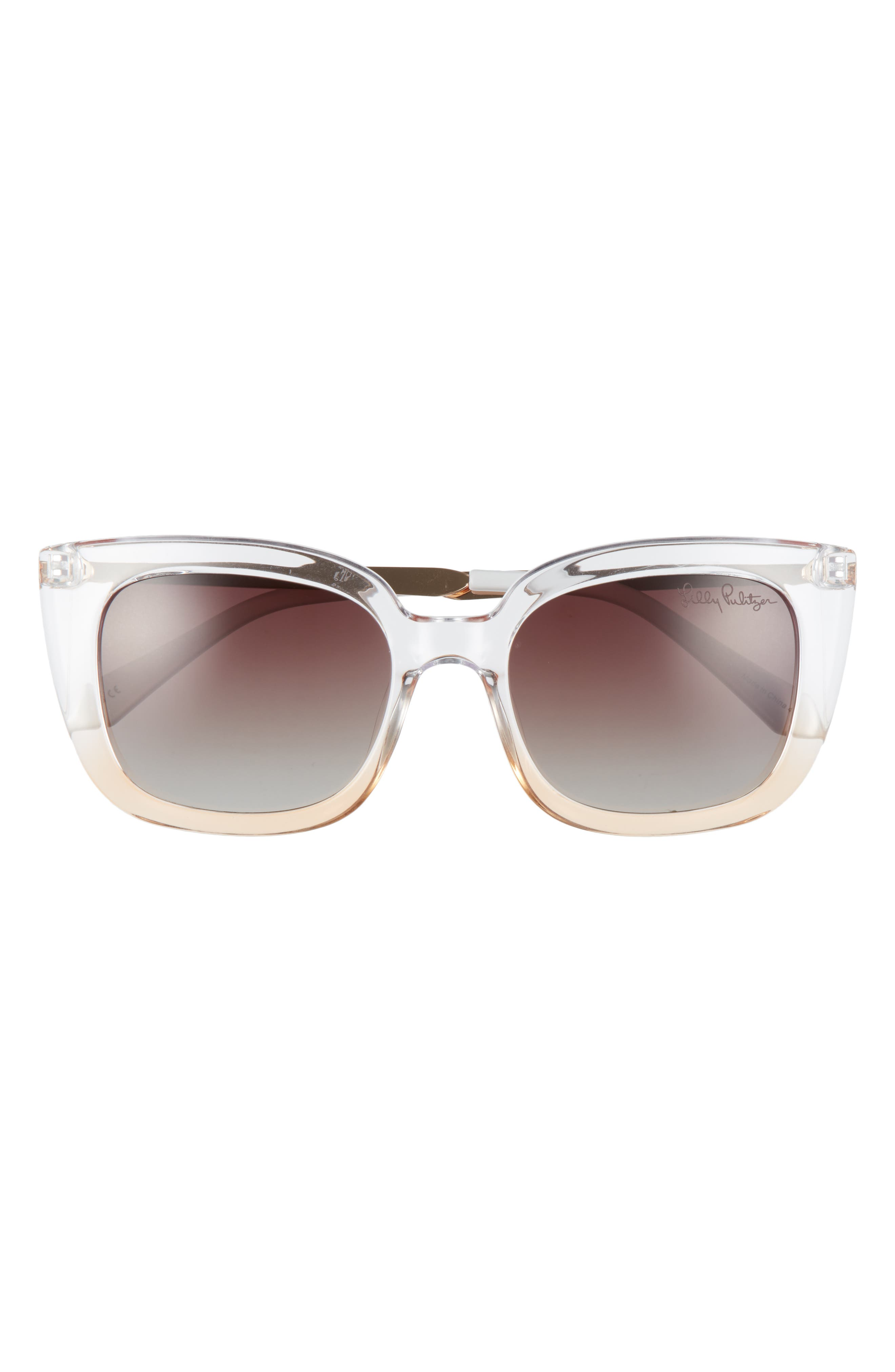 Exaggerated cat-eye frames heighten the retro appeal of sunglasses fitted with TAC polarized lenses that are scratch-resistant and glare-reducing. Style Name: Lilly Pulitzer Circe 52mm Polarized Cat Eye Sunglasses. Style Number: 6104396. Available in stores.