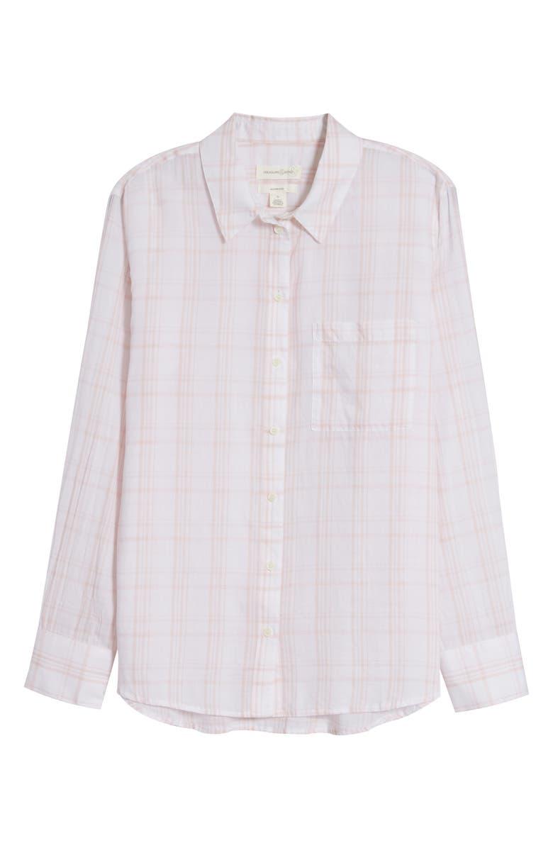 TREASURE & BOND Oversize Plaid Shirt, Main, color, WHITE- PINK PEARL PLAID