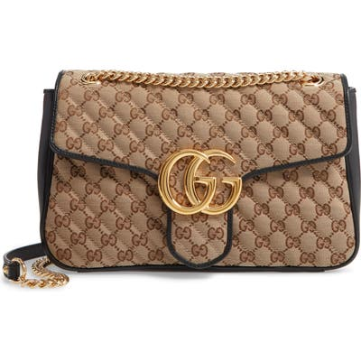 Gucci Small 2.0 Quilted Original Gg Canvas Shoulder Bag - Beige