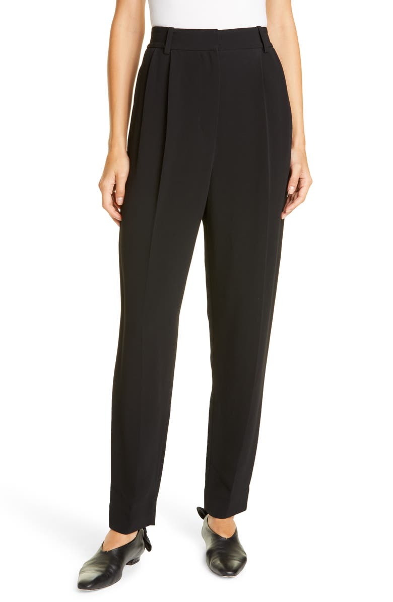PROENZA SCHOULER Pleated Tapered Pants, Main, color, BLACK