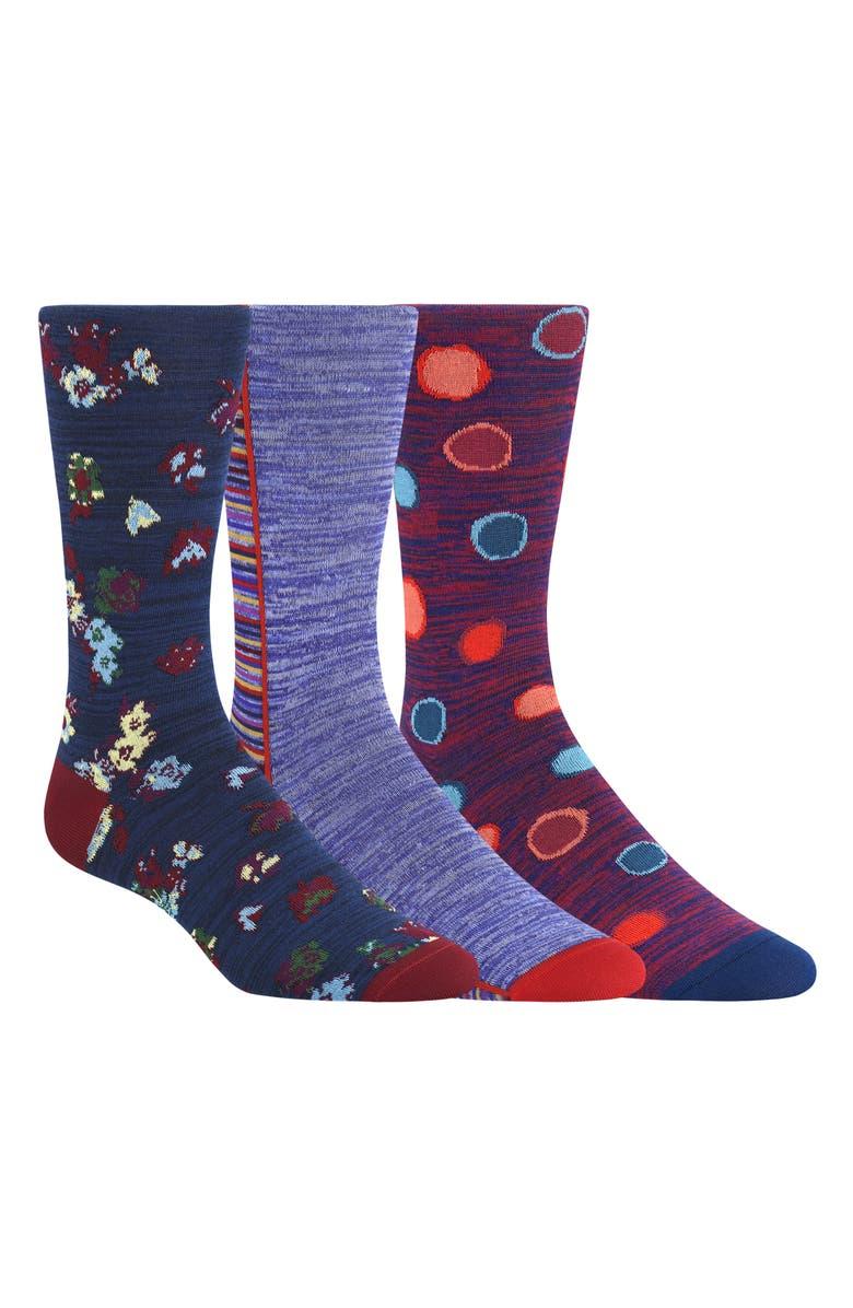 BUGATCHI 3-Pack Sock Gift Set, Main, color, BORDEAUX