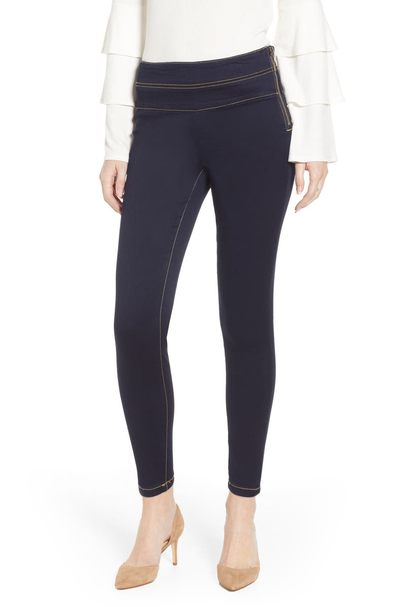 TINSEL Double Stack Side Zip Jeggings, Main, color, DARK RINSE WASH