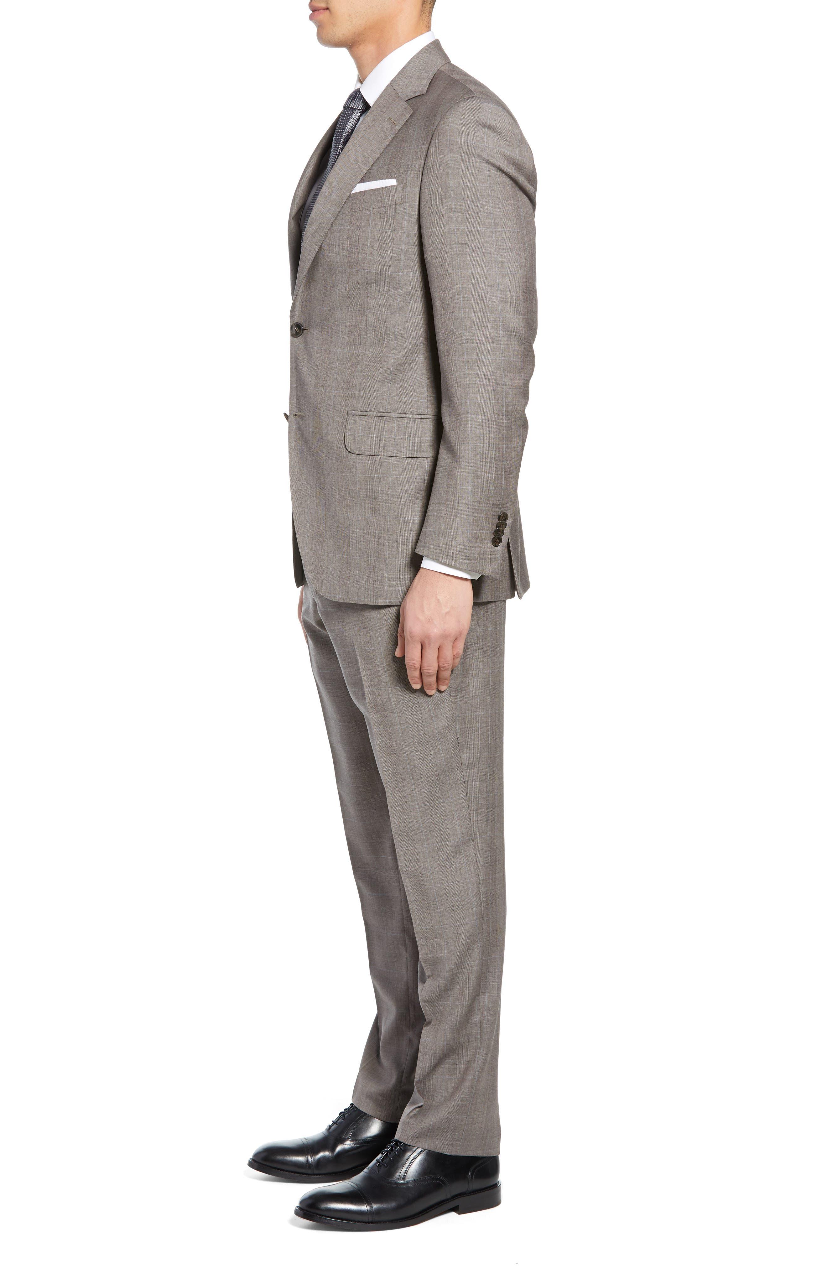 ,                             Flynn Classic Fit Windowpane Wool Suit,                             Alternate thumbnail 3, color,                             TAN