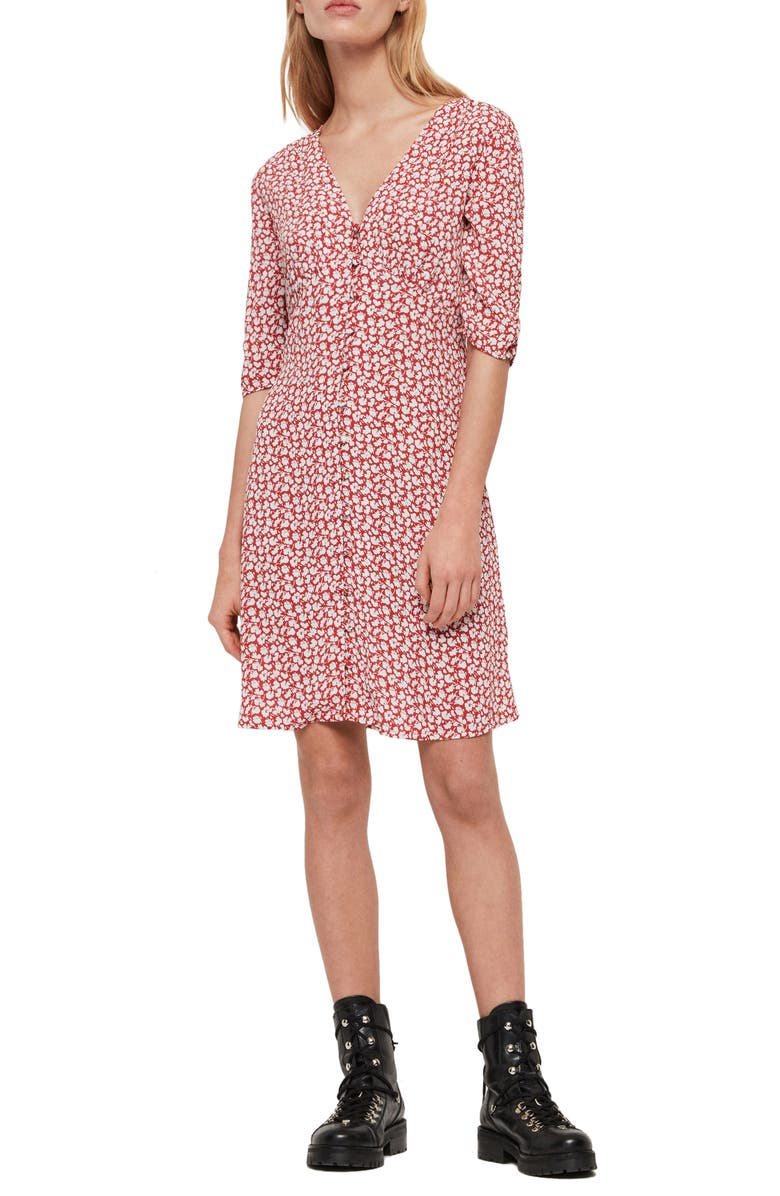 ALLSAINTS Kota Scatter Dress, Main, color, RED
