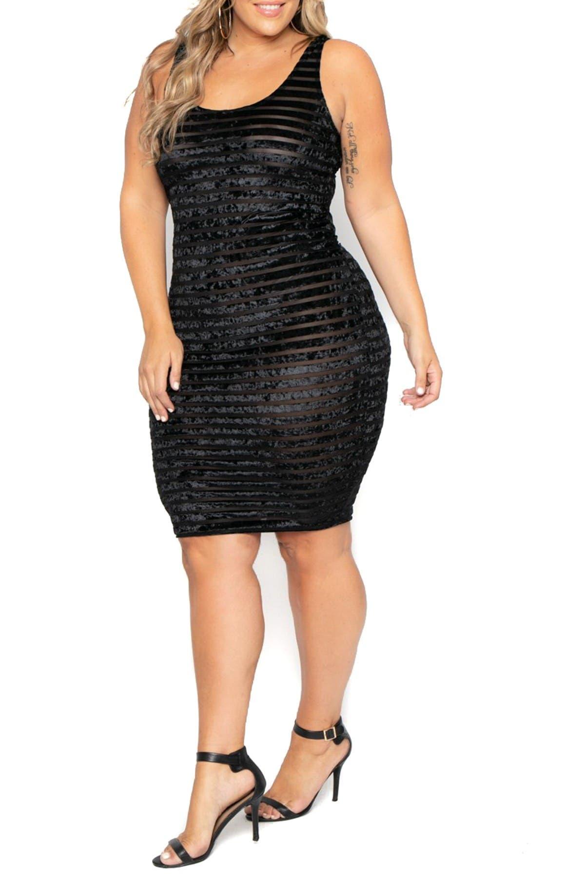 Curvy Sense Crushed Velvet Striped Mesh Dress