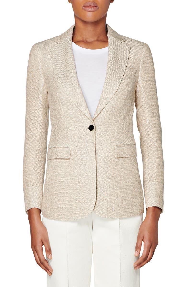 SUISTUDIO Cameron Silk & Linen Suit Jacket, Main, color, LIGHT BROWN
