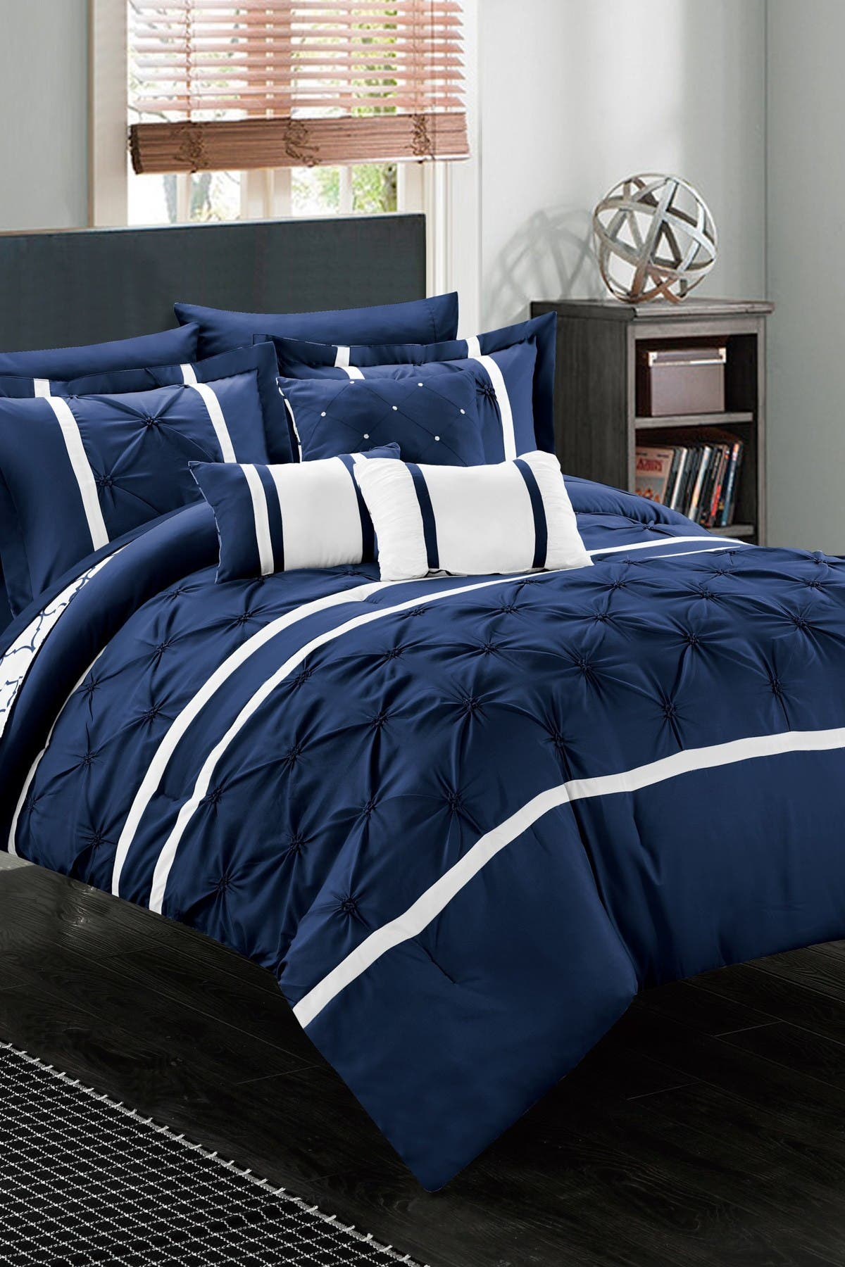 Image of Chic Home Bedding Navy Queen Plymouth Pinch Pleated Reversible Geometric 10-Piece Bed in a Bag Set
