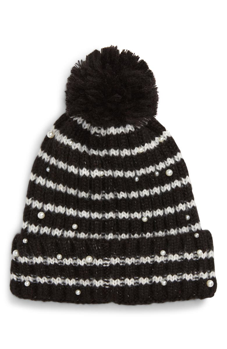 HALOGEN<SUP>®</SUP> x Atlantic-Pacific Pearly Bead Stripe Beanie, Main, color, BLACK COMBO