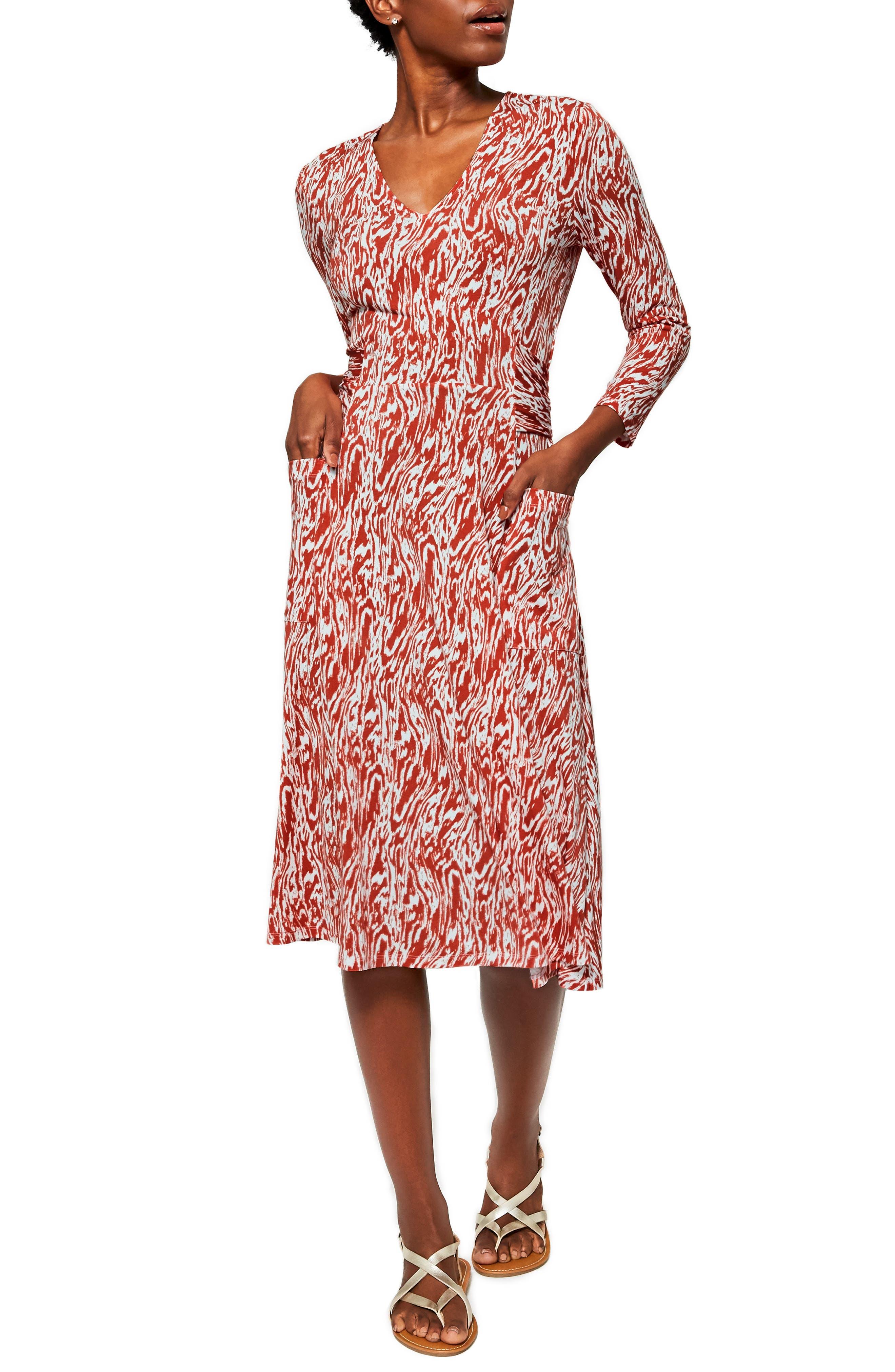 Eliza Long Sleeve V-Neck Midi Dress