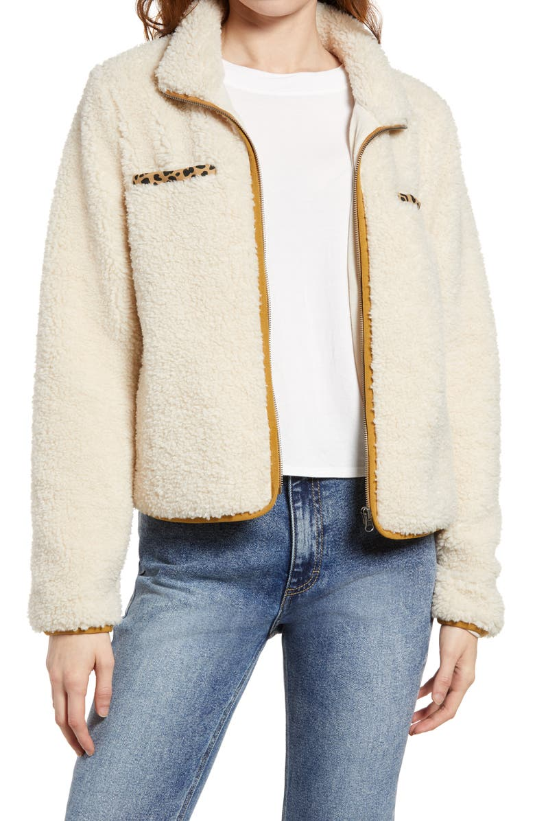 THREAD & SUPPLY Wubby Zip Up Jacket, Main, color, CREAM