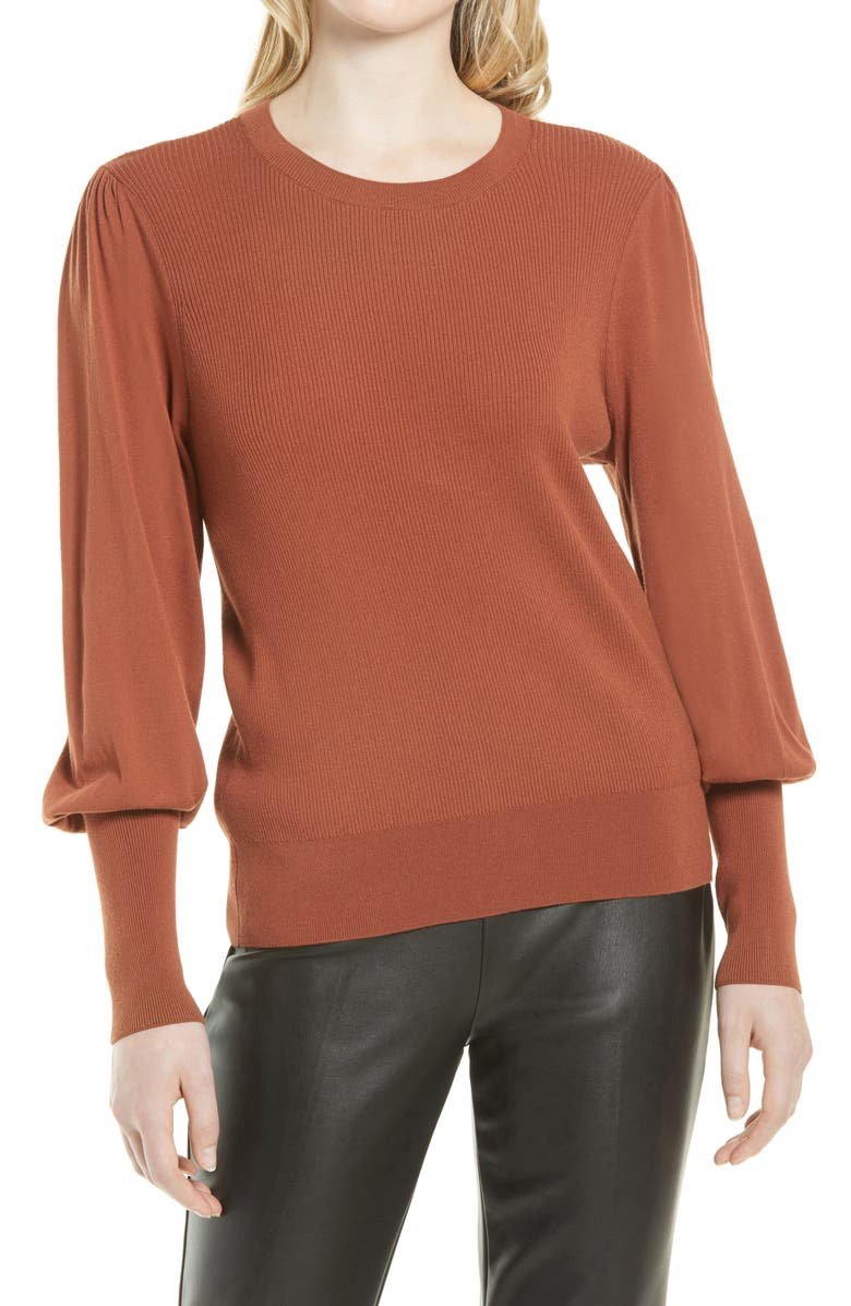 HALOGEN<SUP>®</SUP> Puff Sleeve Sweater, Main, color, RUST SEQUOIA