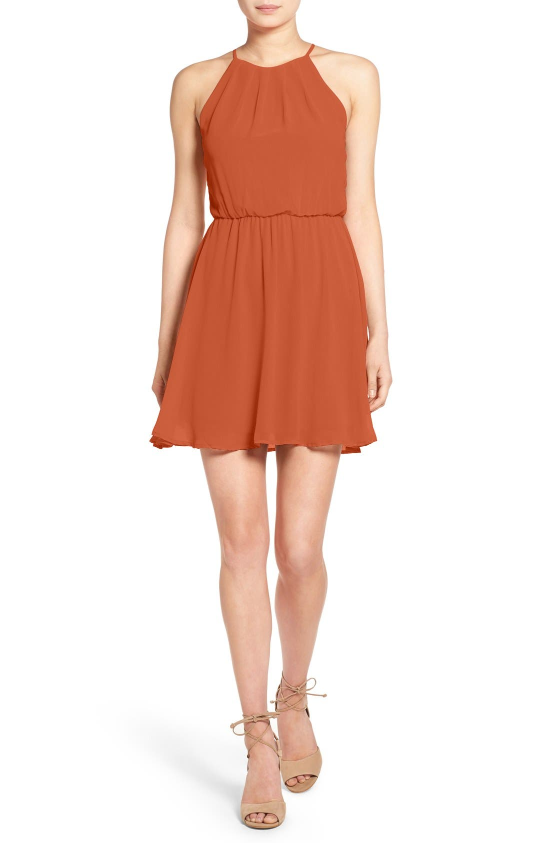 ,                             Blouson Chiffon Skater Dress,                             Main thumbnail 109, color,                             209