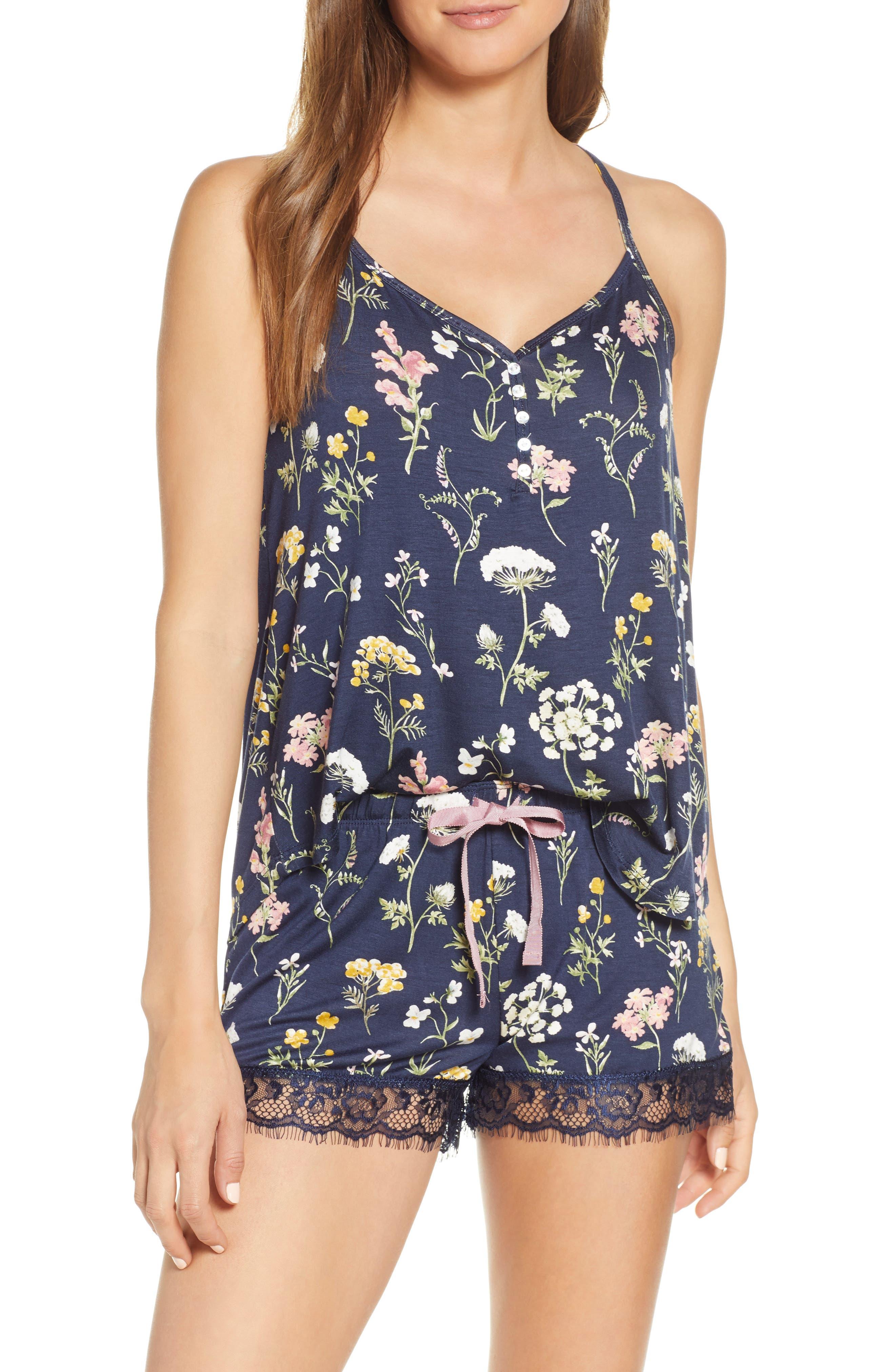 Pj Salvage Dreams Bloom Pajama Shorts, Blue