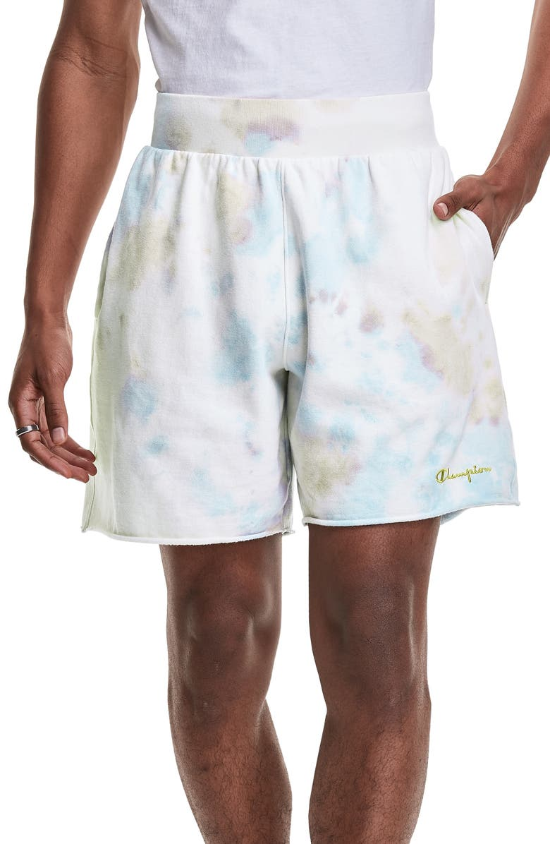 CHAMPION Sunwash Fleece Shorts, Main, color, SUN WASH LEMON GLACIER MULTI