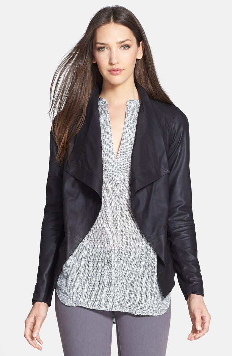 VINCE Drape Neck Leather Jacket, Main, color, 001