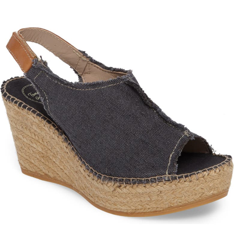 TONI PONS 'Lugano' Espadrille Wedge Sandal, Main, color, BLACK FABRIC