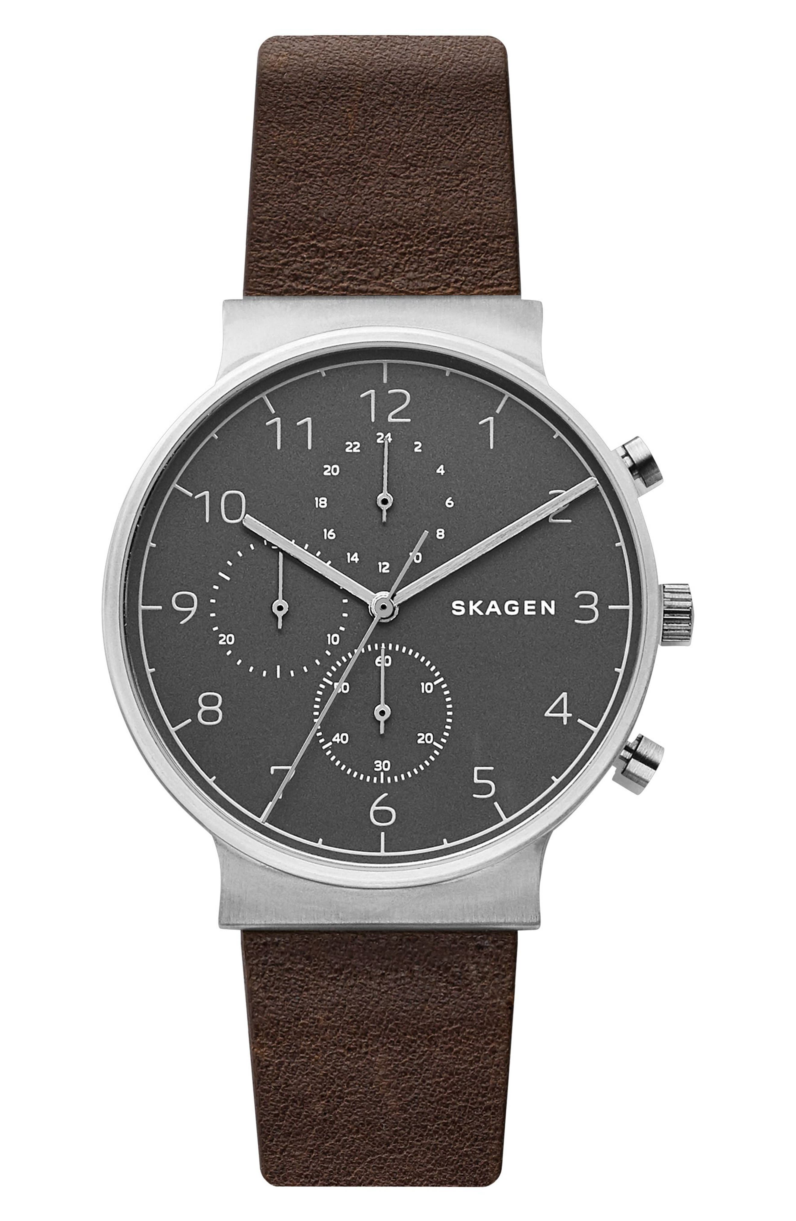 Image of Skagen Men's Ancher Chronograph Leather Strap Watch, 40mm