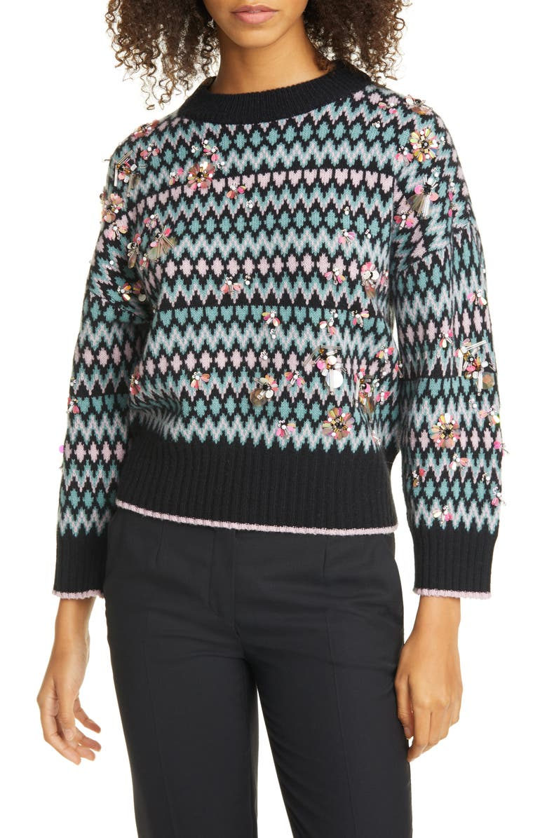 KATE SPADE NEW YORK embellished merino wool & cashmere fair isle sweater, Main, color, BLACK