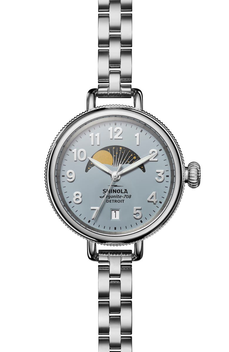 SHINOLA 'The Birdy' Moon Phase Bracelet Watch, 34mm, Main, color, 040