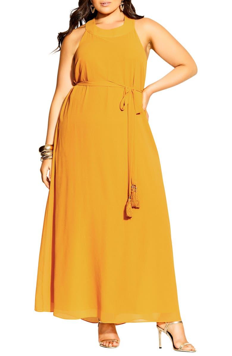 CITY CHIC Bliss Maxi Dress, Main, color, HONEY