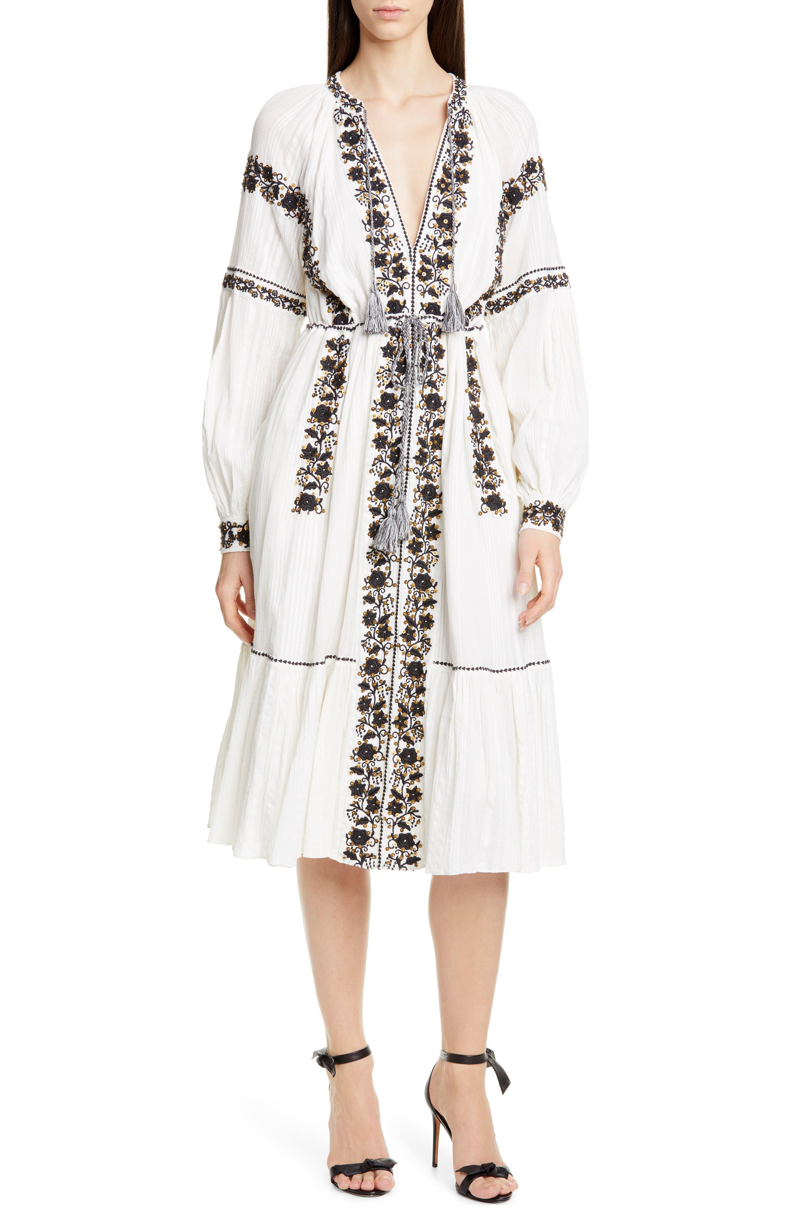Ulla Johnson Vanita Embellished Long Sleeve Midi Dress, White