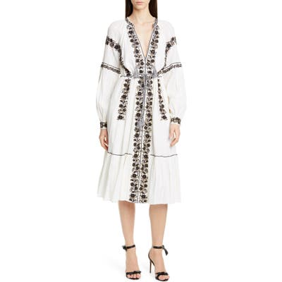 Ulla Johnson Vanita Embellished Long Sleeve Midi Dress, White