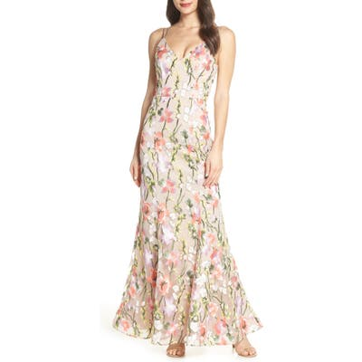 Sequin Hearts Floral Embroidered Evening Dress, Beige