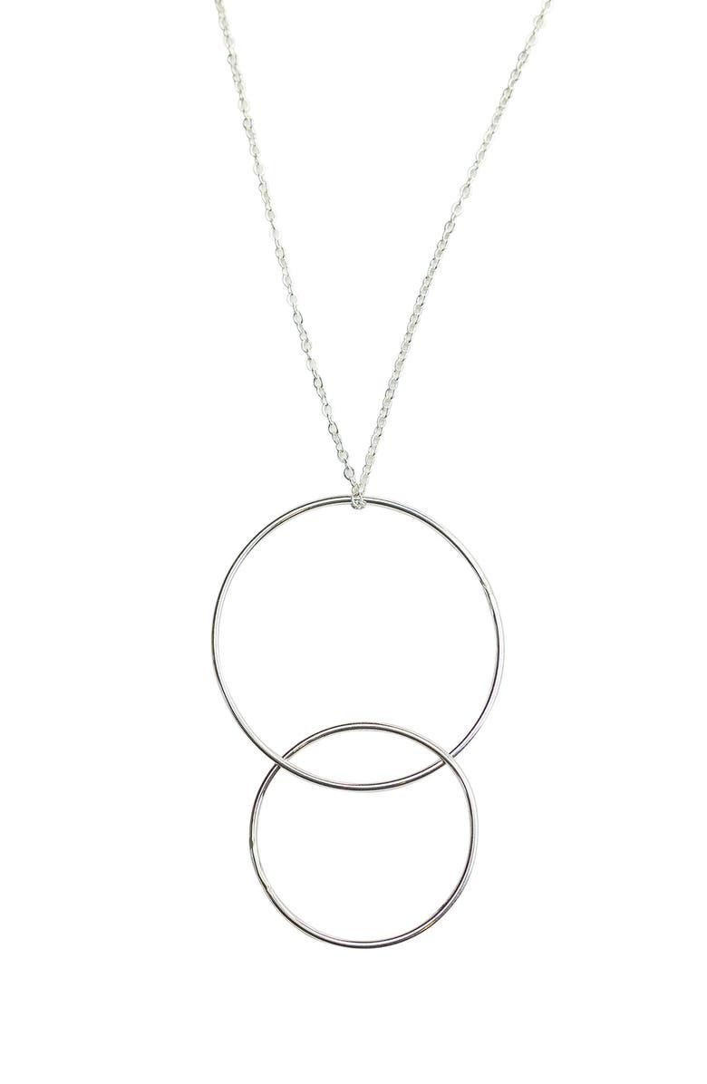 NASHELLE Double Drop Necklace, Main, color, SILVER