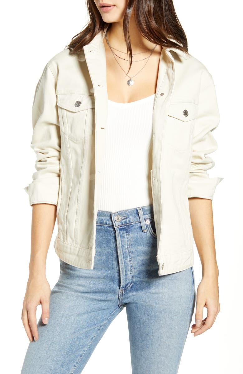 VERO MODA Katrina Organic Cotton Denim Jacket, Main, color, BIRCH