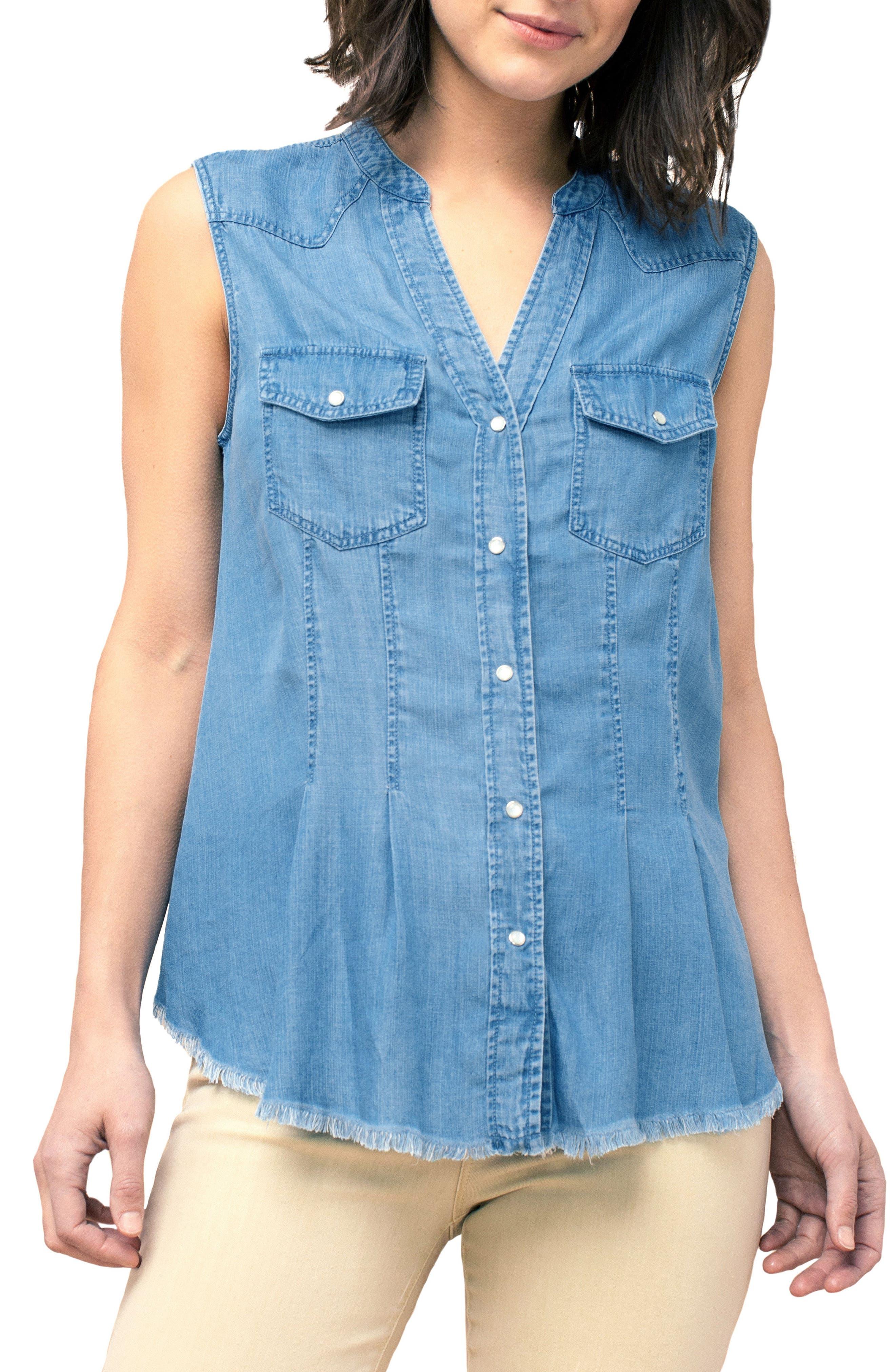 Liverpool Western Button Front Sleeveless Shirt, Blue