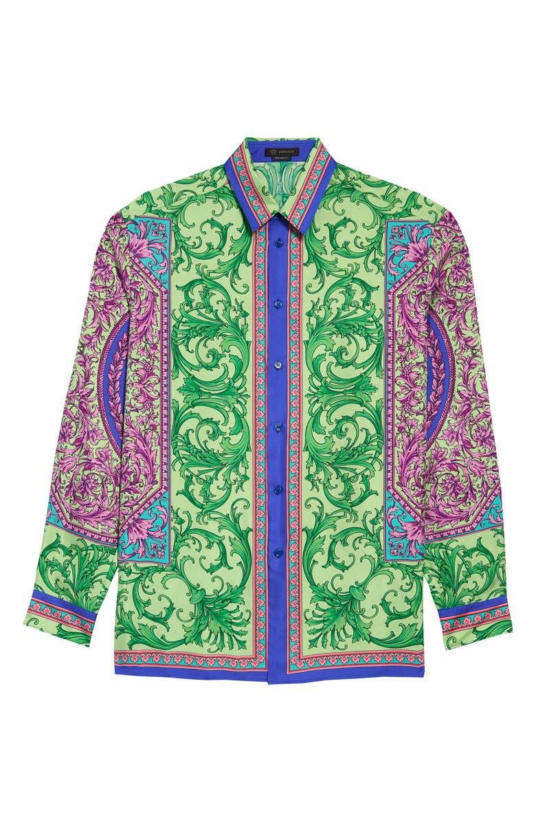 VERSACE Print Silk Button-Up Shirt, Main, color, GREEN