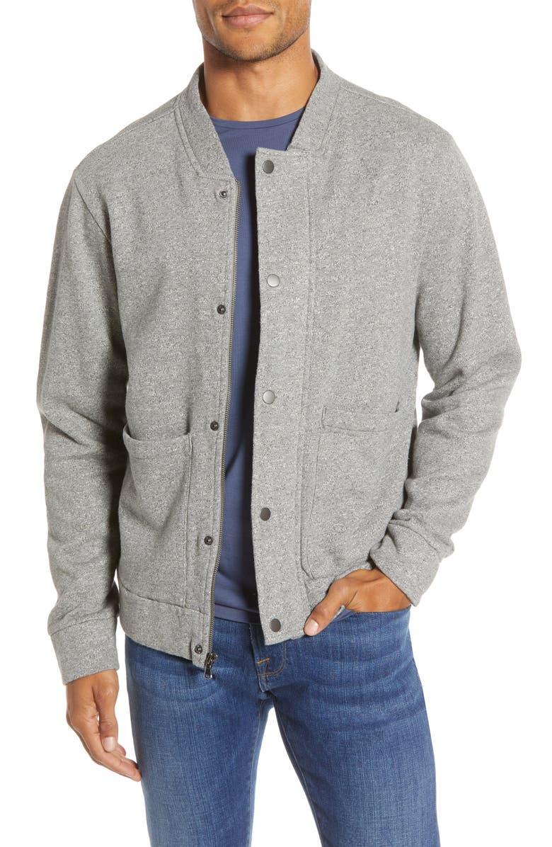 BONOBOS Fleece Baseball Jacket, Main, color, GREY JASPER