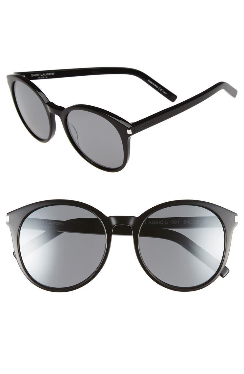 SAINT LAURENT 'Classic' 54mm Sunglasses, Main, color, 001