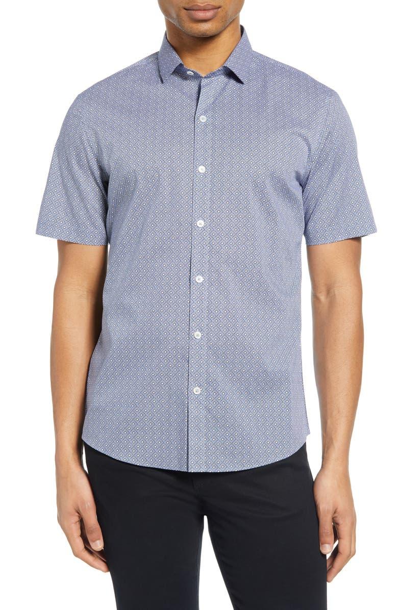 ZACHARY PRELL Windju Classic Fit Short Sleeve Shirt, Main, color, BLUE