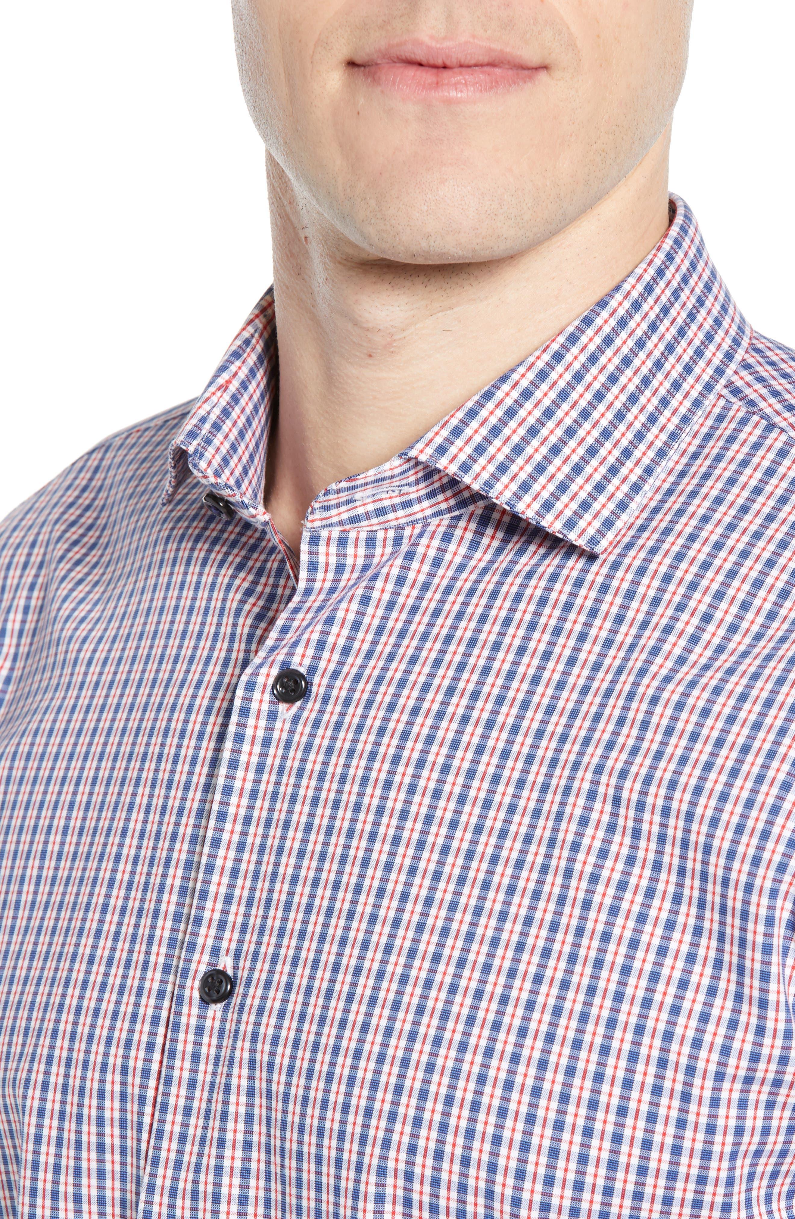 ,                             Tech-Smart Trim Fit Stretch Check Dress Shirt,                             Alternate thumbnail 2, color,                             RED RIBBON