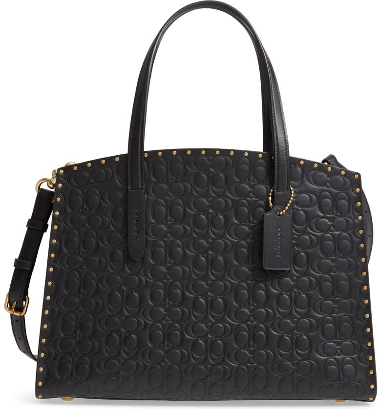 COACH Logo Embossed Studded Leather Tote, Main, color, 012