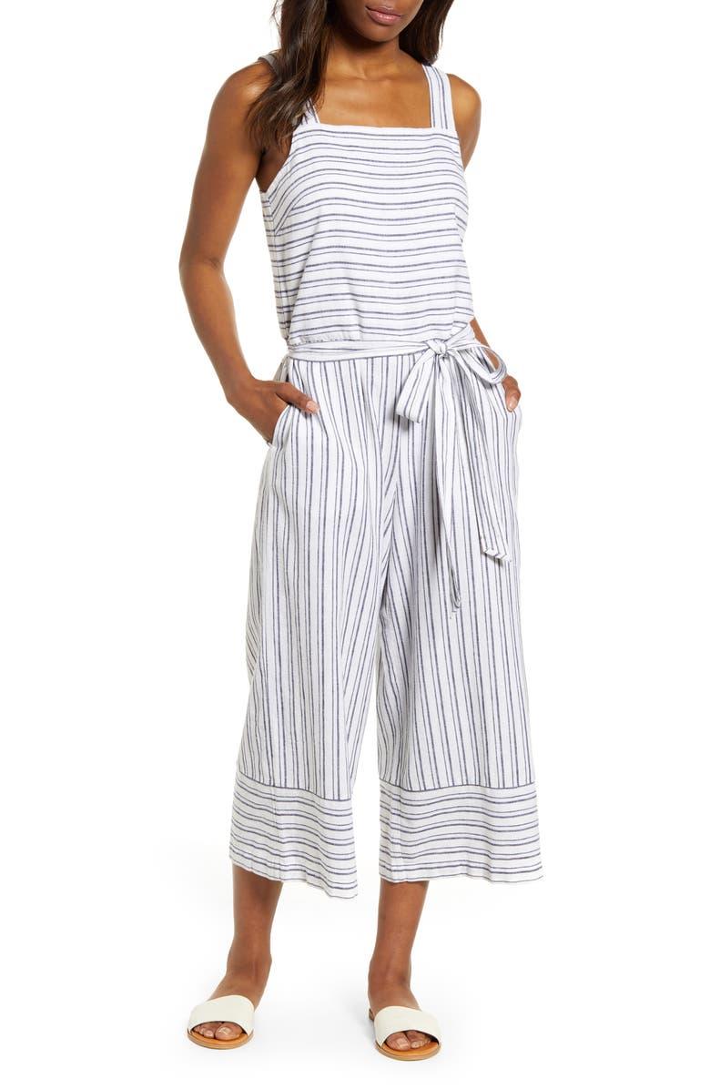 BEACHLUNCHLOUNGE Talia Stripe Cotton & Linen Jumpsuit, Main, color, FRESH LAUNDRY