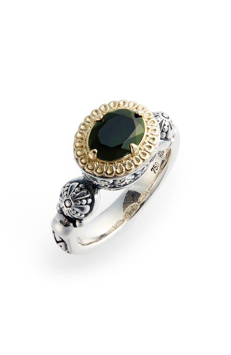 KONSTANTINO Hermione Two-Tone Semiprecious Stone Ring, Main, color, SILVER/ GREEN TOURMALINE