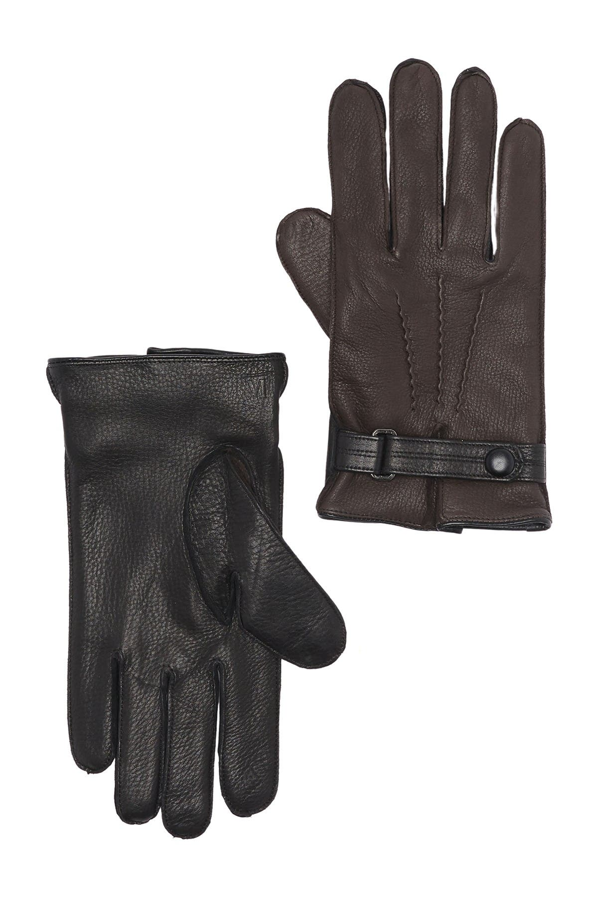 Image of Bruno Magli Cashmere Lined Leather Snap Button Gloves