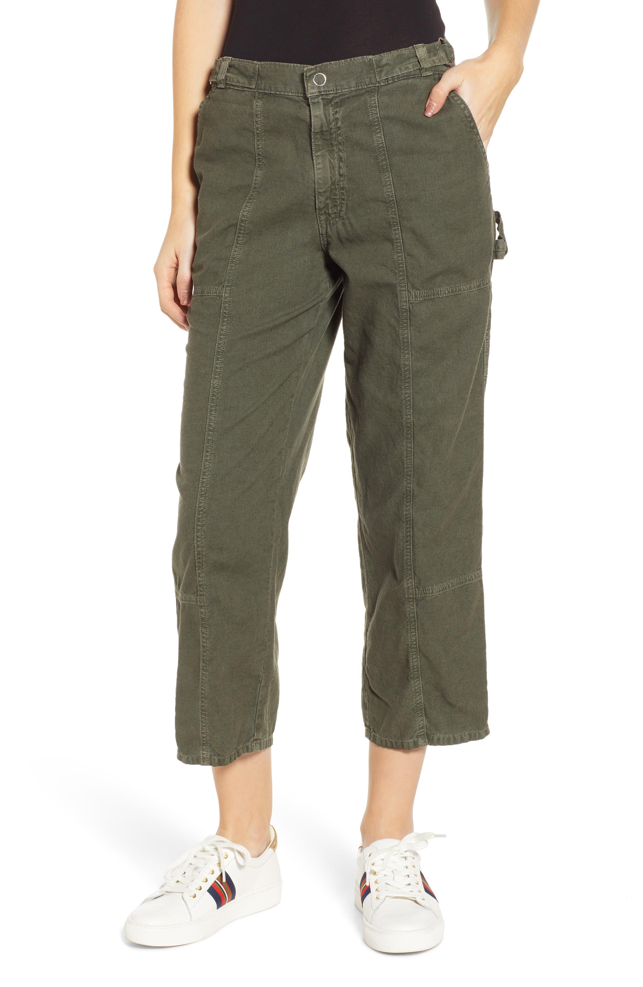 Ag Noten High Waist Crop Cargo Pants, Green