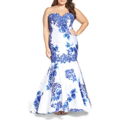 Plus Size MAC Duggal Embellished Strapless Zip Off Mermaid Gown