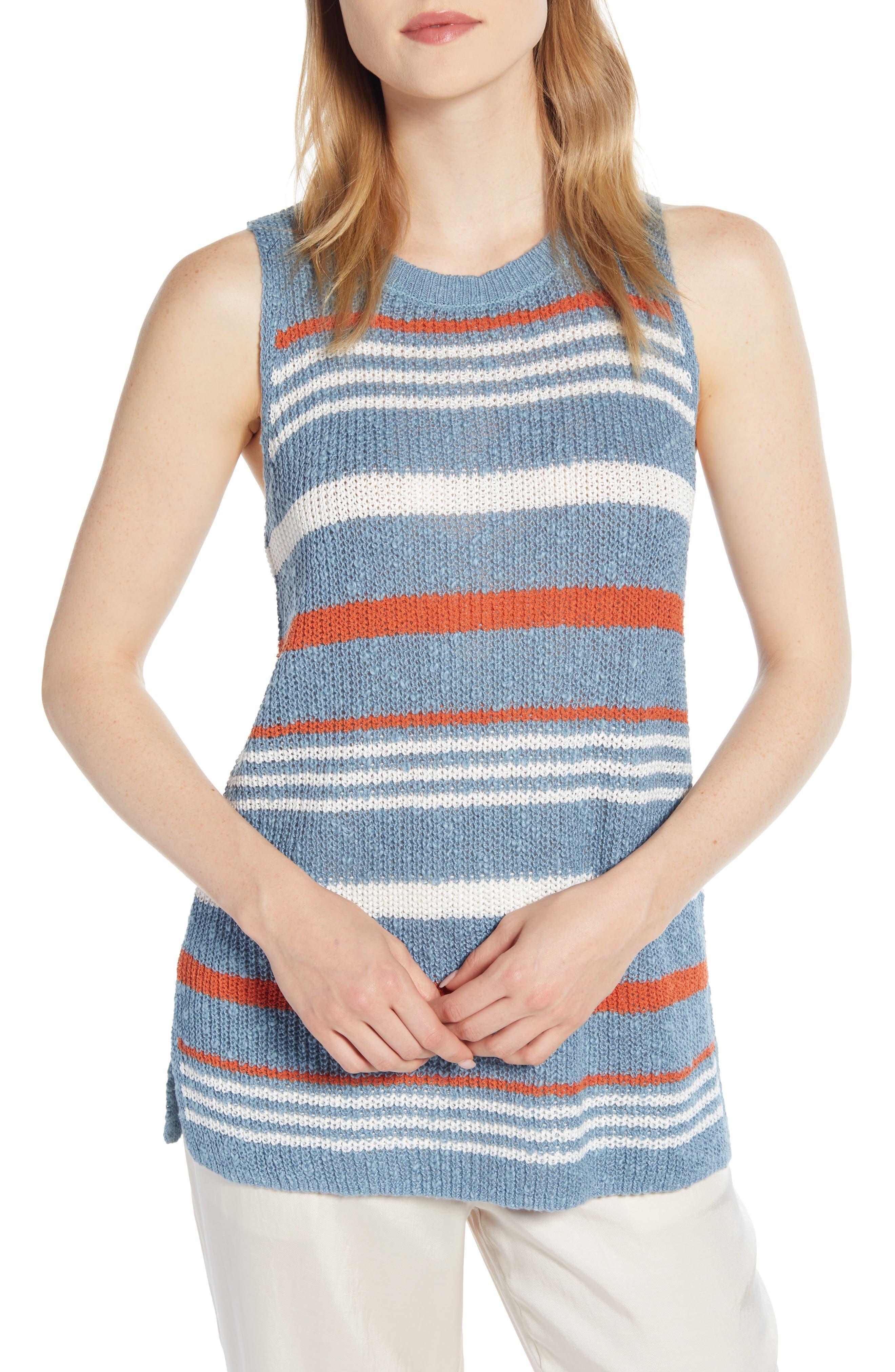 Lou & Grey Stripe Sweater Tank, Blue
