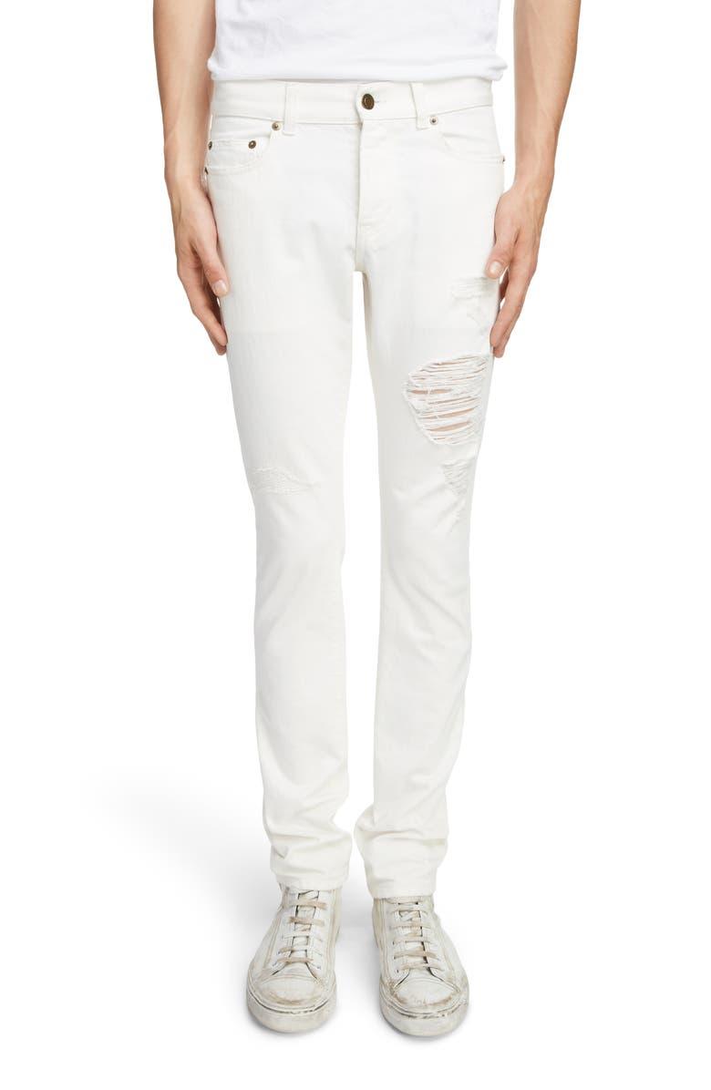 SAINT LAURENT Slim Fit Distressed Jeans, Main, color, WHITE STONEWASH