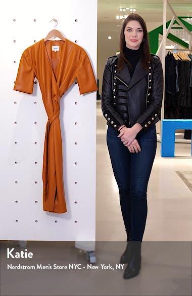 Penelope Faux Leather Wrap Dress, sales video thumbnail