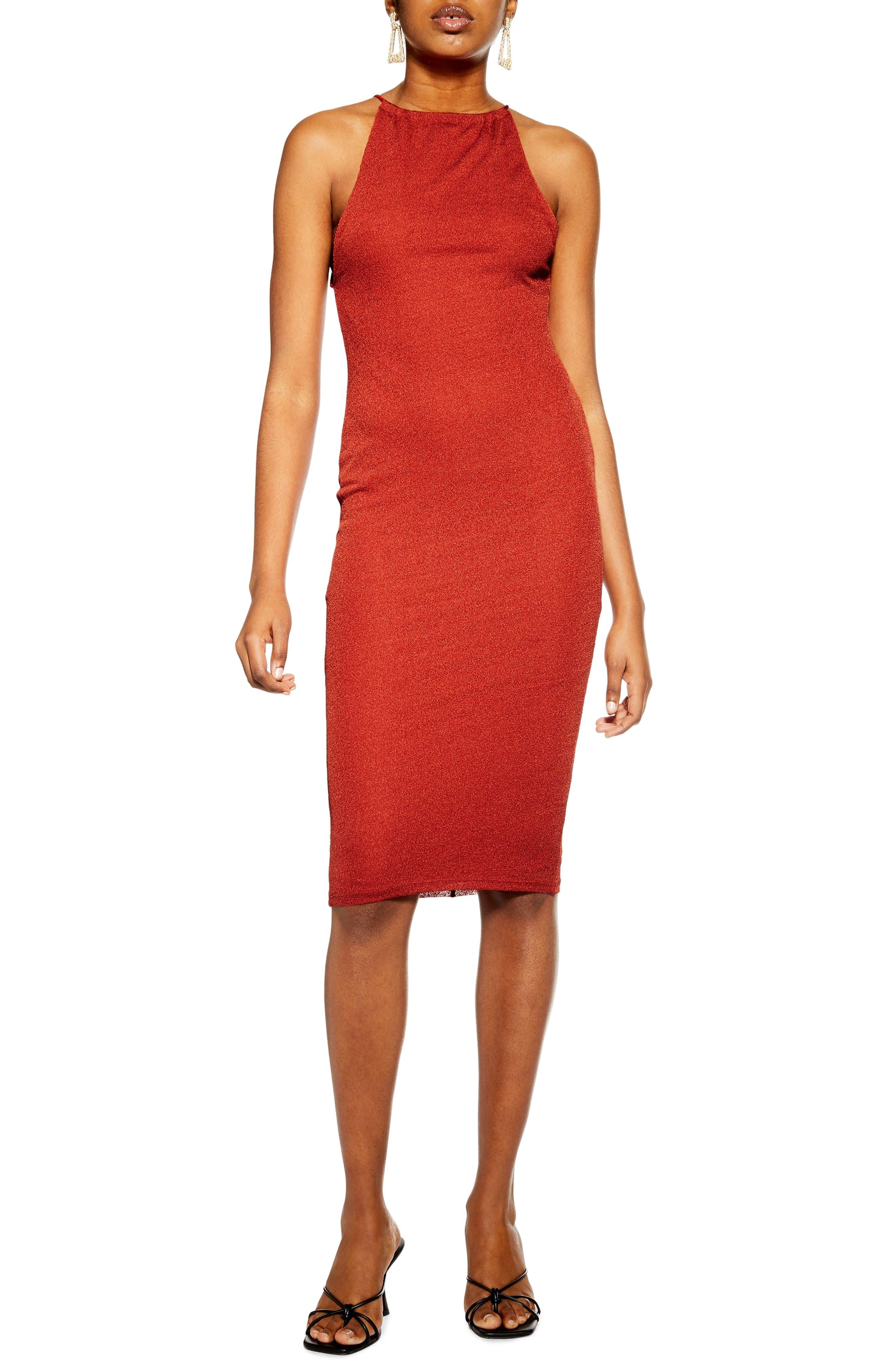 Topshop Cut And Sew Sleeveless Body-Con Dress, US (fits like 0-2) - Metallic