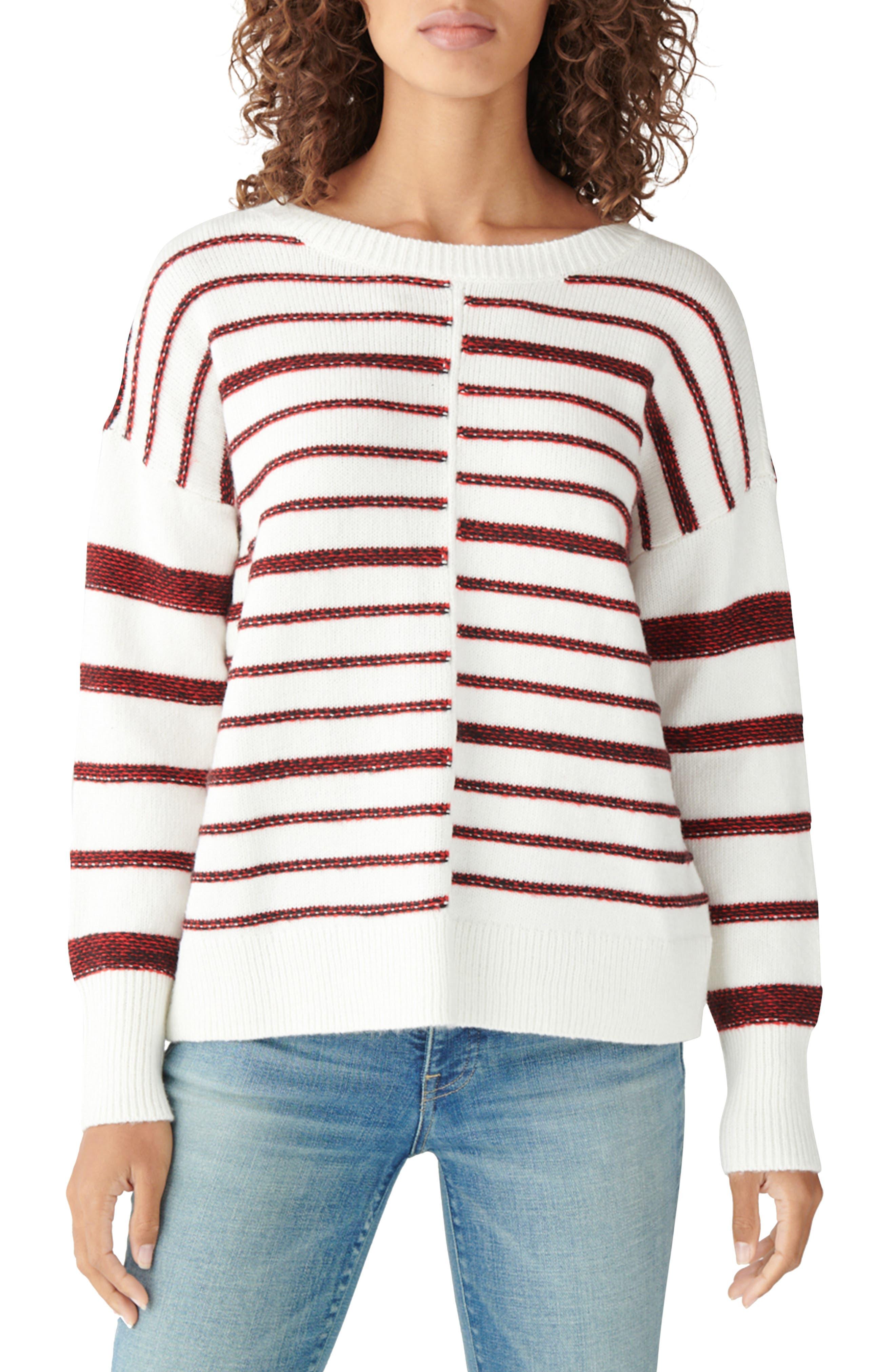 Drop Shoulder Textured Stripes Sweater