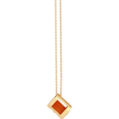 Conges Courage & Vitality Carnelian Initial Barrel Pendant Necklace