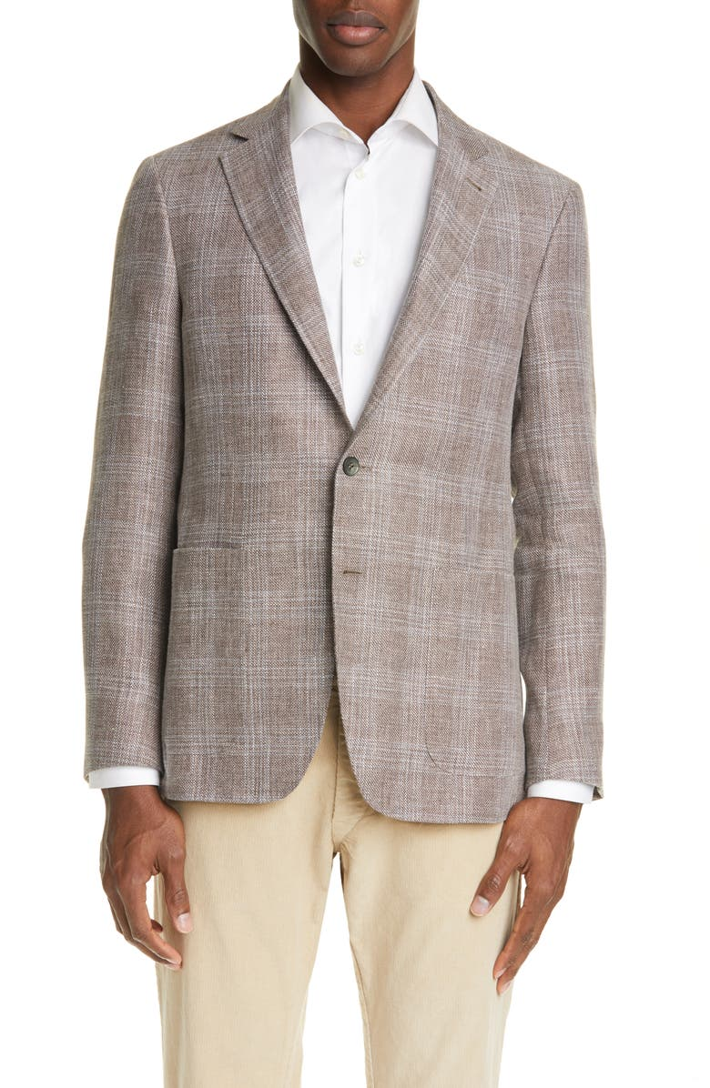 CANALI Classic Fit Plaid Linen & Wool Sport Coat, Main, color, LIGHT BROWN