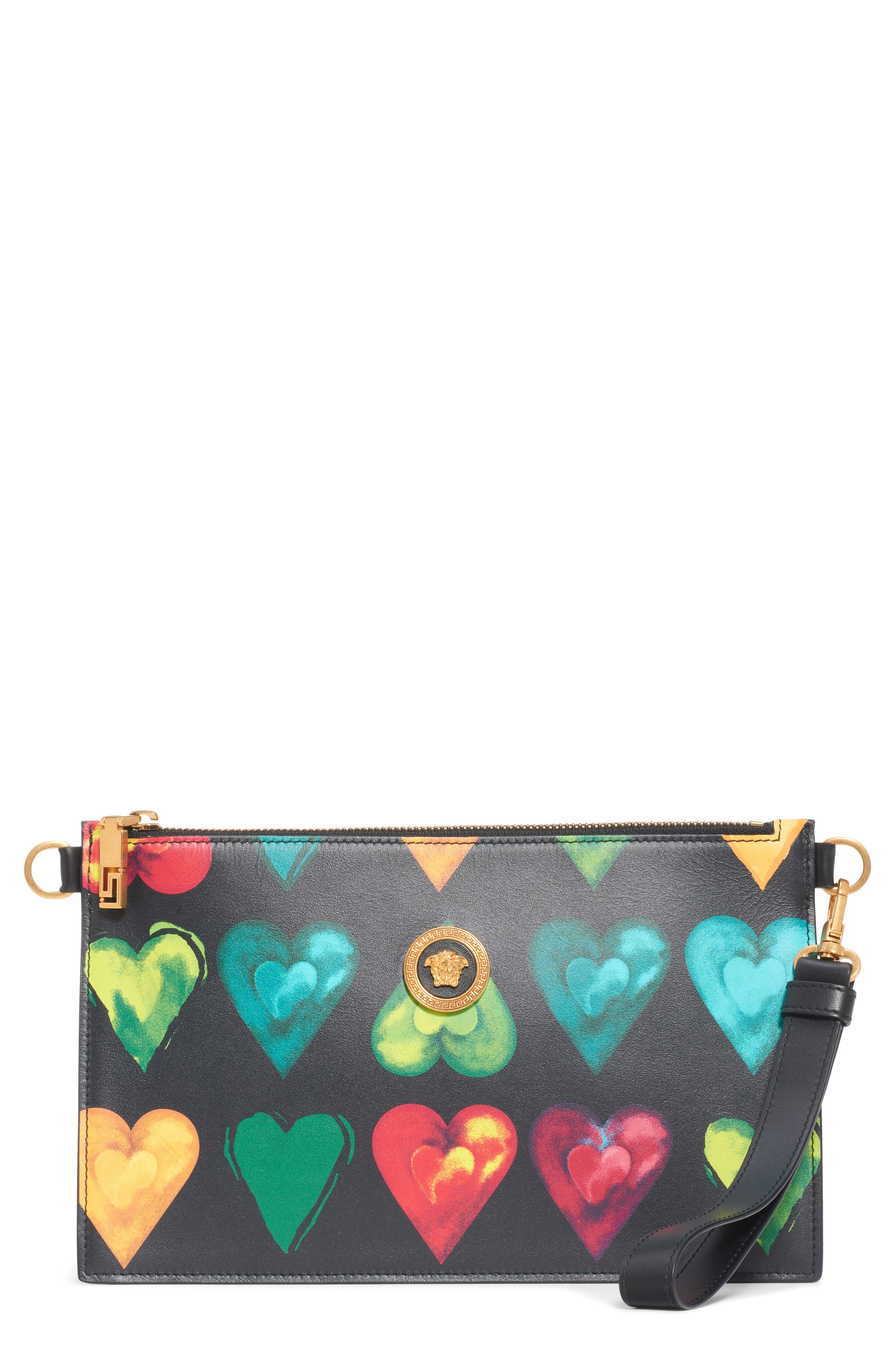 Versace Clutch First Line Rebellious Hearts Leather Clutch