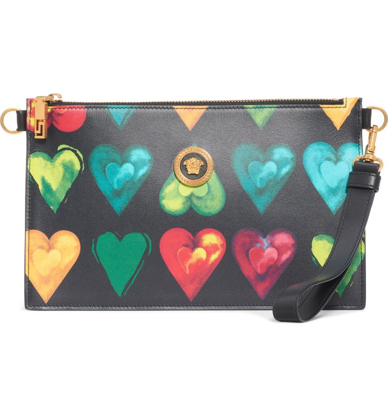VERSACE First Line Rebellious Hearts Leather Clutch, Main, color, BLACK MULTI/ TRIBUTE GOLD